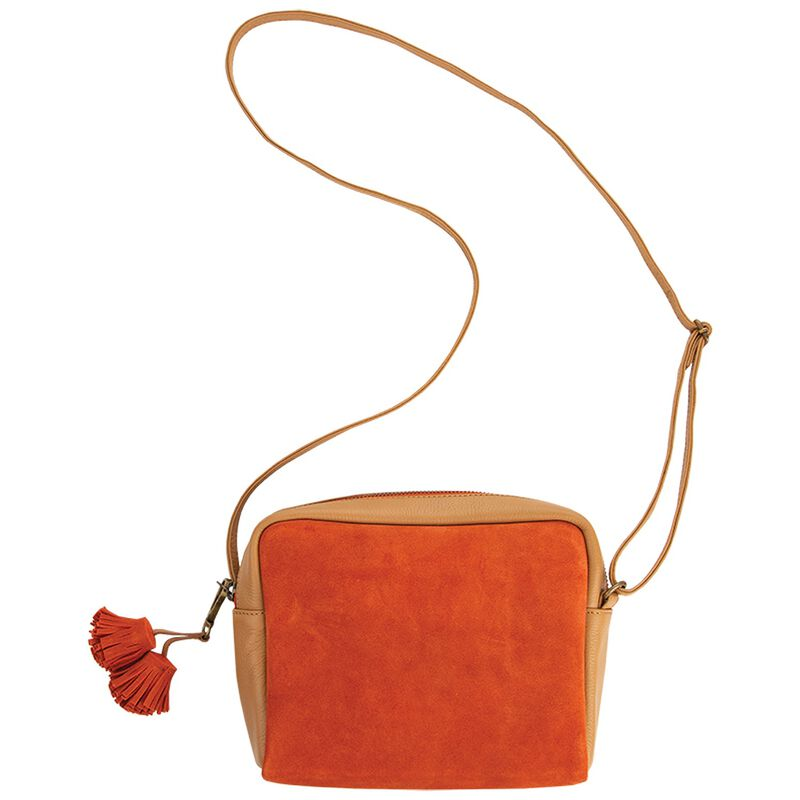 Giana Suede and Leather Cross Body Bag -  tan-coral