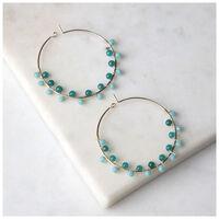 Cluster Bead Hoop Earrings -  aqua-gold