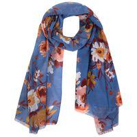 Aura Floral Scarf -  blue-peach