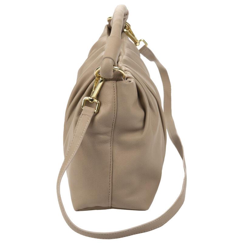 Luna Draped Leather Bag -  taupe