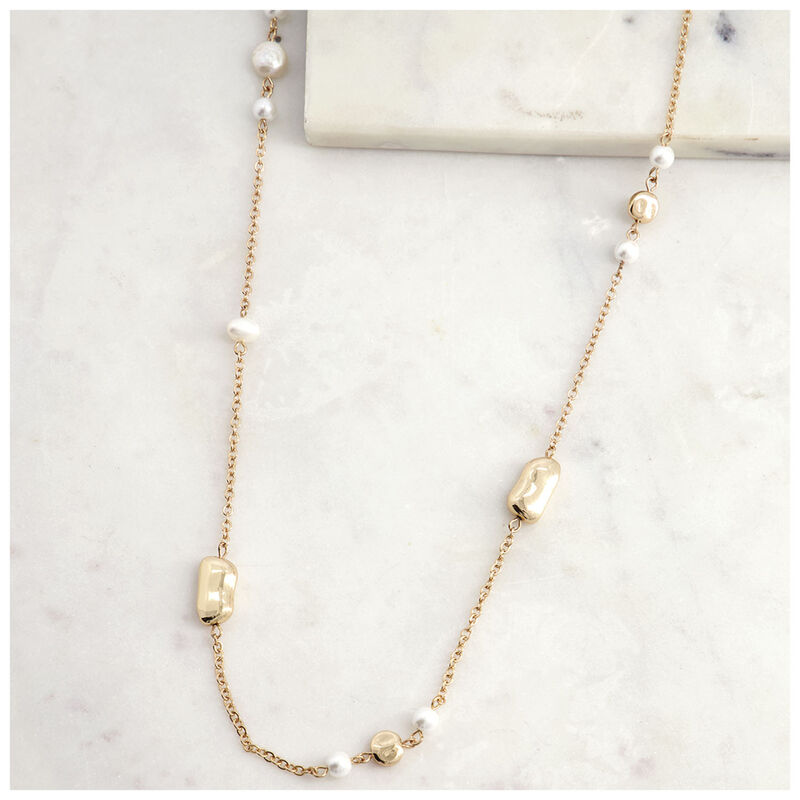 Satellite Pearl Necklace -  milk