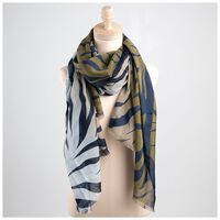 Forence Striped Scarf -  olive-sage