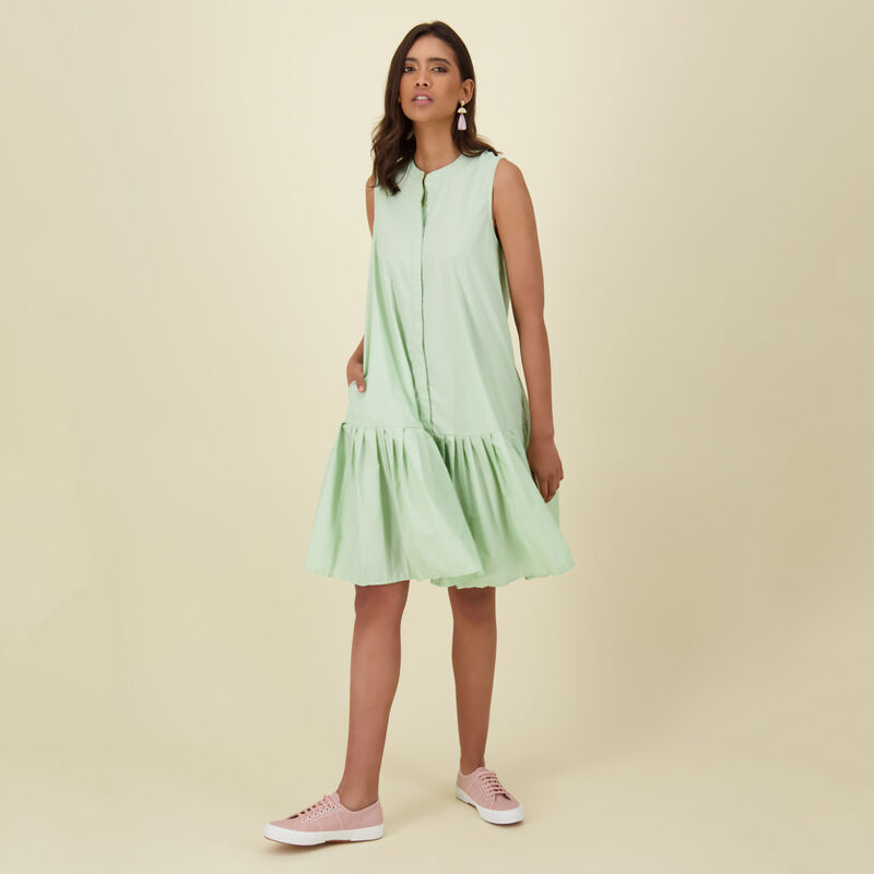 Zobia Poplin Dress -  green