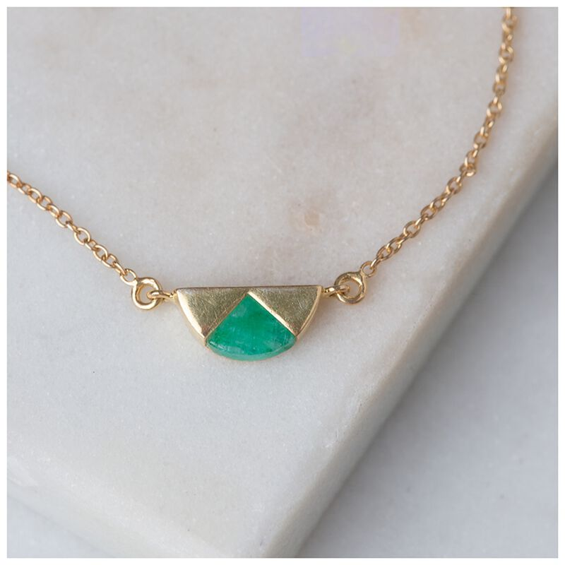 Emerald & Gold Halfmoon Bracelet -  emerald-green
