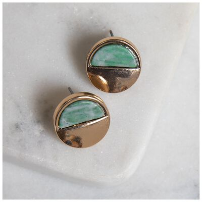 Natural Stone Disc Stud Earrings