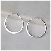 Silver Hoop Earrings -  silver-silver