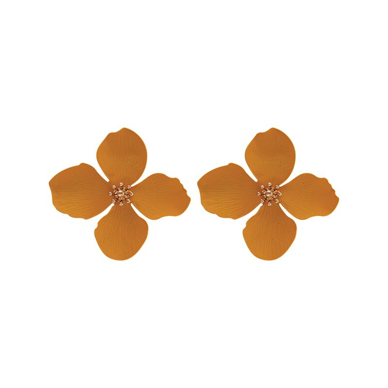 3D Flower Stud Earrings -  gold-yellow