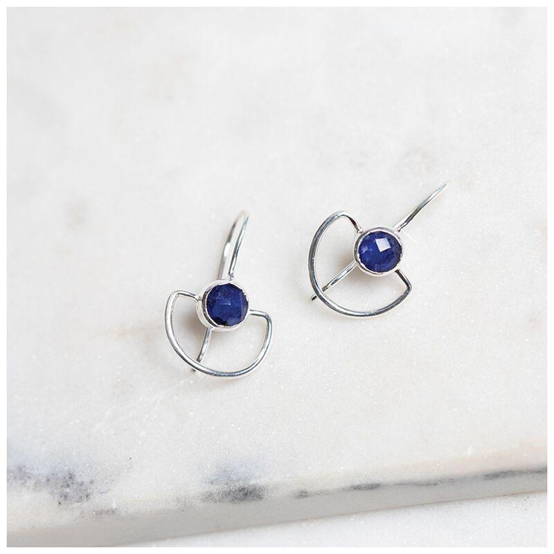 Silver Sapphire Drop Earrings -  silver-navy