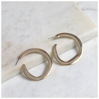 Metal Hoop Earrings -  gold