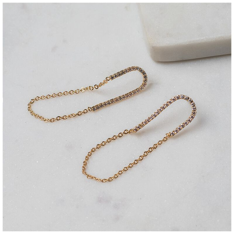 Delicate Pearl and Bead Chain Earrings -  gold-cream