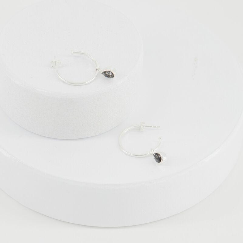 Black Routile Hoop Earrings -  black