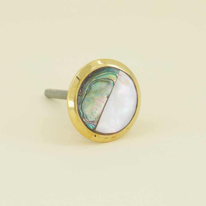 Mother of Pearl and Brass Knob -  gold-white