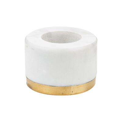 White Marble and Brass Tealight Candle Votive