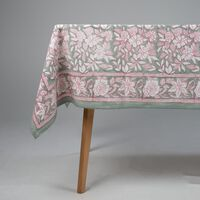 Sage Blockprinted Tablecloth  -  sage-white