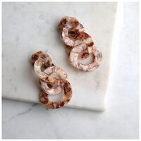 Long Resin Circle Link Earrings -  nude-rose
