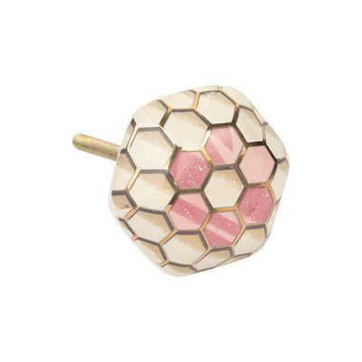 Pink & Gold Honeycomb Knob