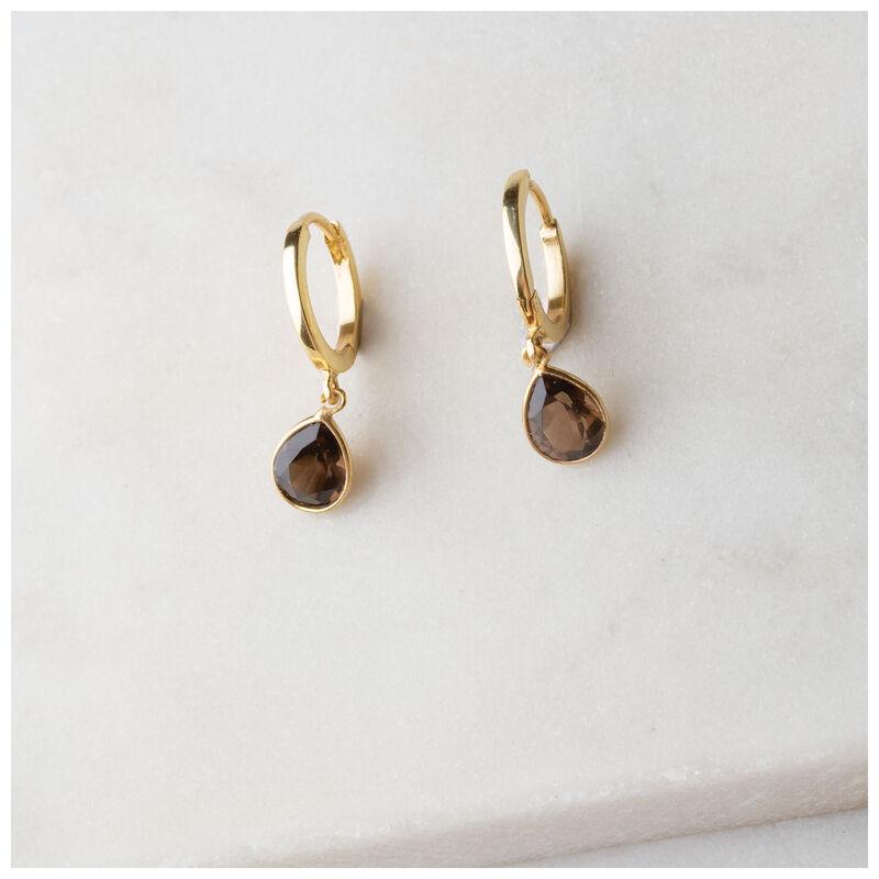 Gold & Smokey Quartz Teardrop Huggie Mini Drop Earrings -  gold-brown