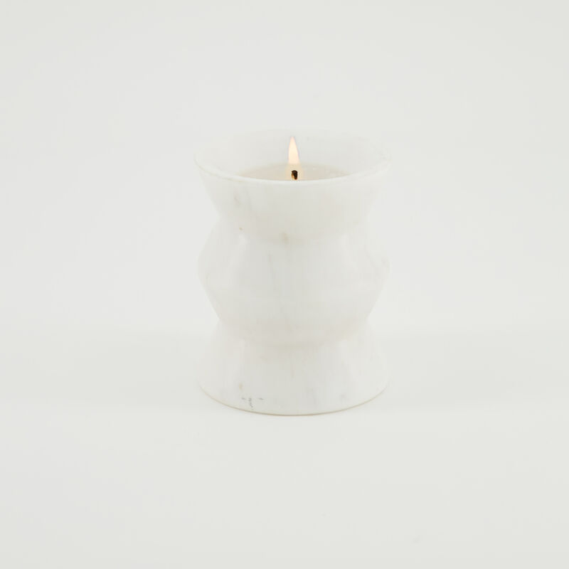 Large Abstract Marble Candle  -  c09