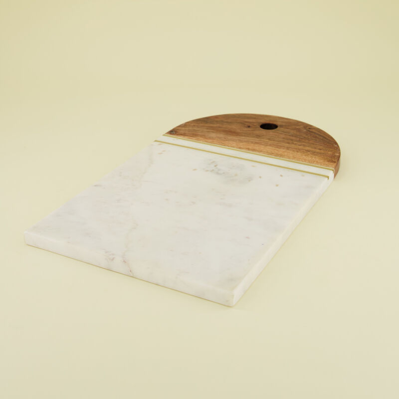 White Marble, Brass & Wood Board -  white-brown