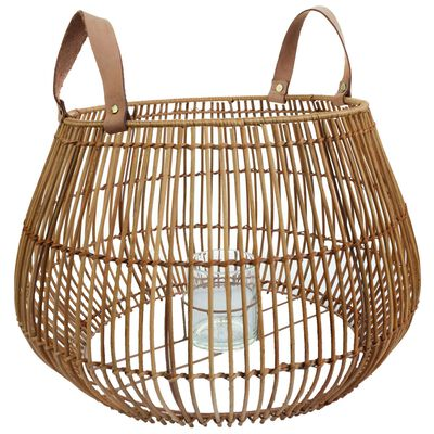 Large Rattan Lantern with Leather Strap