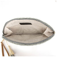 Jossie Straw Clutch Bag -  sage-oatmeal