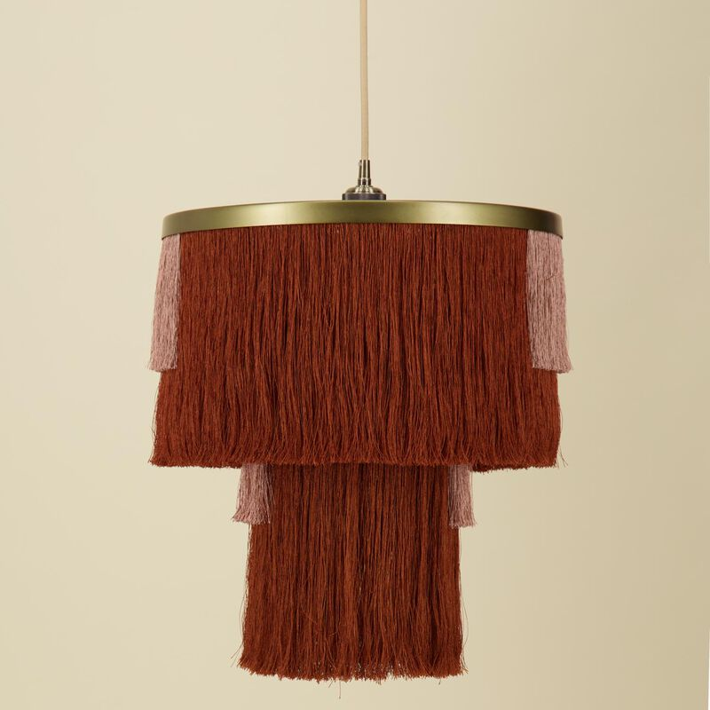 Tiered Tassel Lampshade -  rust-dustypink