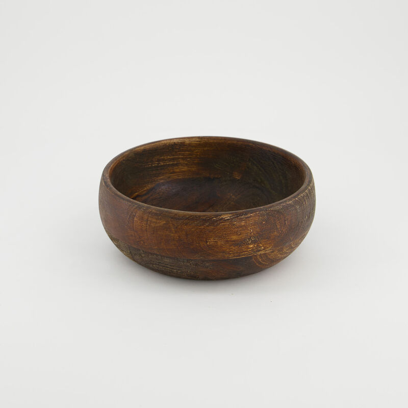 Mid Wash Wooden Bowl (Small) -  brown-brown