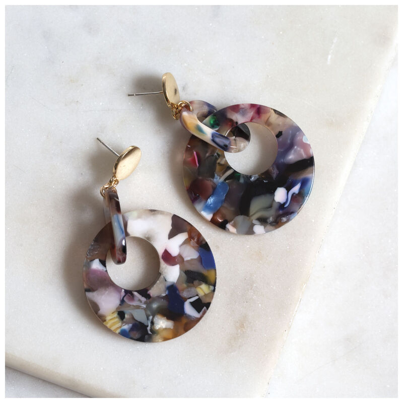 Resin Linked Circle Earrings -  gold-blue