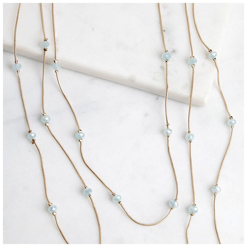 Multi-layered Glass Stone Satellite Necklace -  gold-green