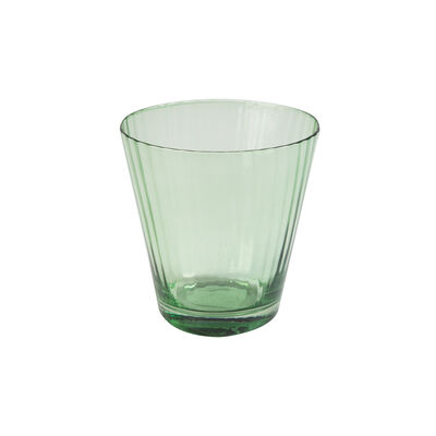 Green Ribbed Short Glass