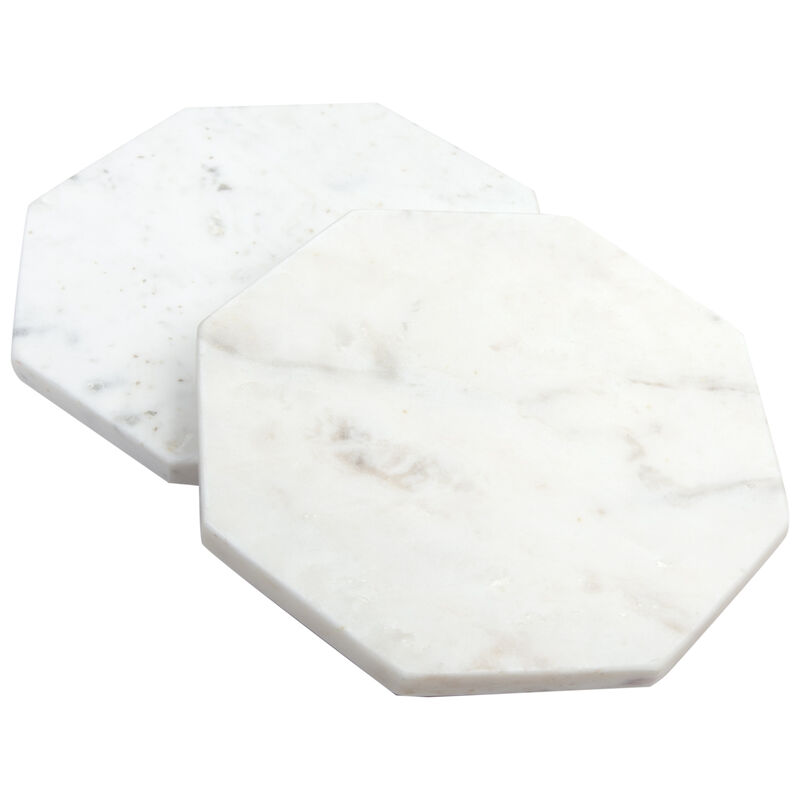Otto Marble Trivet Coaster Set -  white