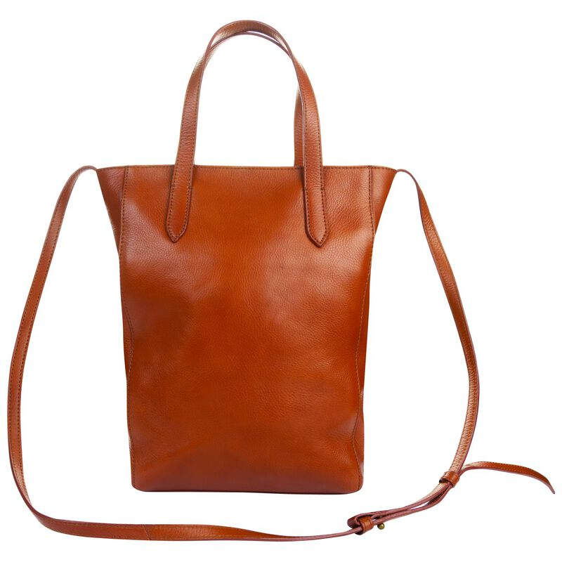 Kristy Structured Leather Shopper -  tan