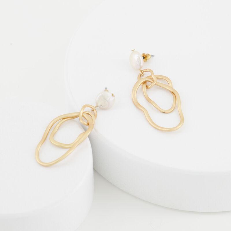 Freshwater Pearl Multi-Ring Drop Earrings -  c10