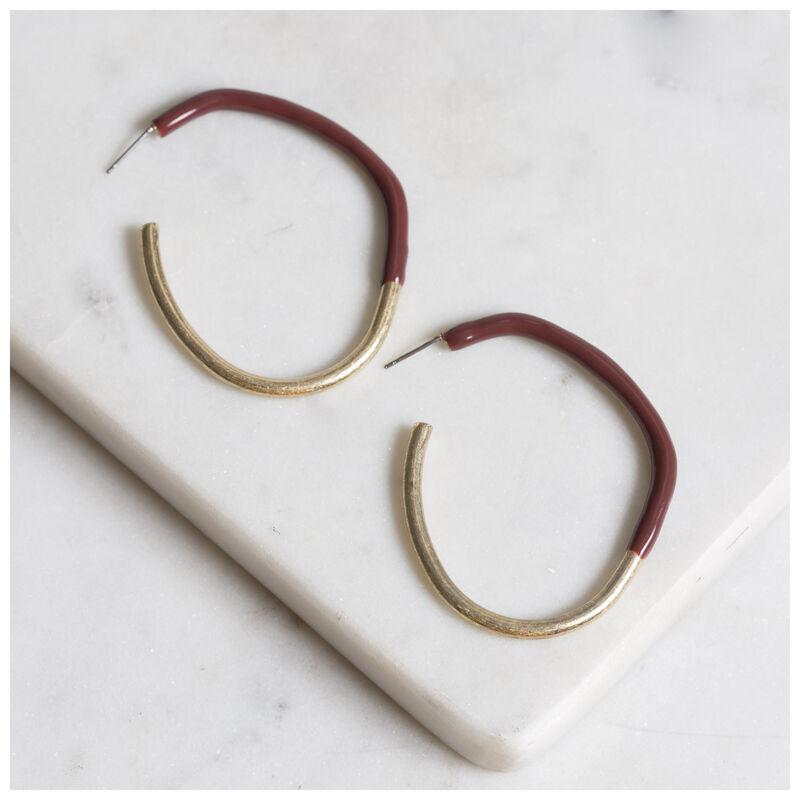Epoxy Hoop Earrings -  gold-burgundy