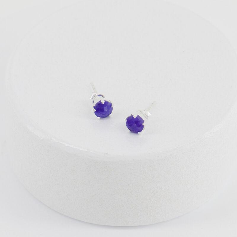 Sapphire Domed Silver Stud Earrings -  c54