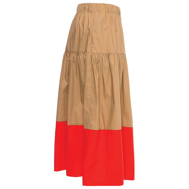 Bryson Colourblock Tiered Skirt -  camel