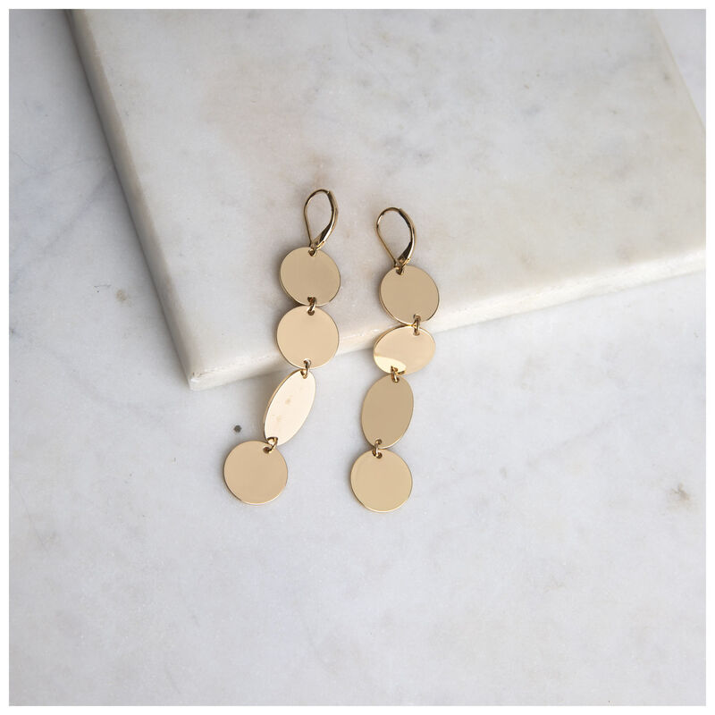 Linked Disc-Drop Earrings -  gold