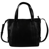 Luz Leather Stitched Band Shopper Bag -  black