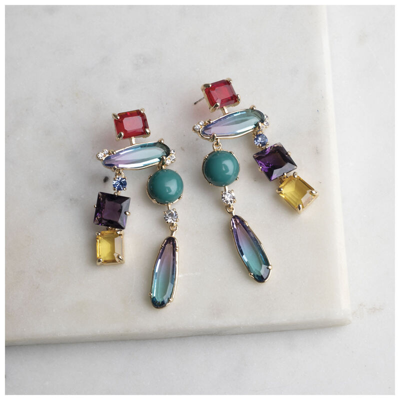 Long Assorted Stone Earrings -  gold-assorted