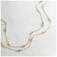 Tiny Glass Stone Satellite Necklace -  pink-blue