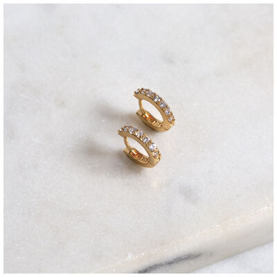 Cubic Zirconia & Gold Huggie Earrings