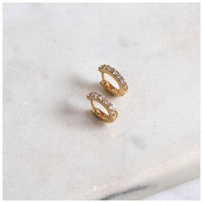 Cubic Zirconia & Gold Huggie Earrings