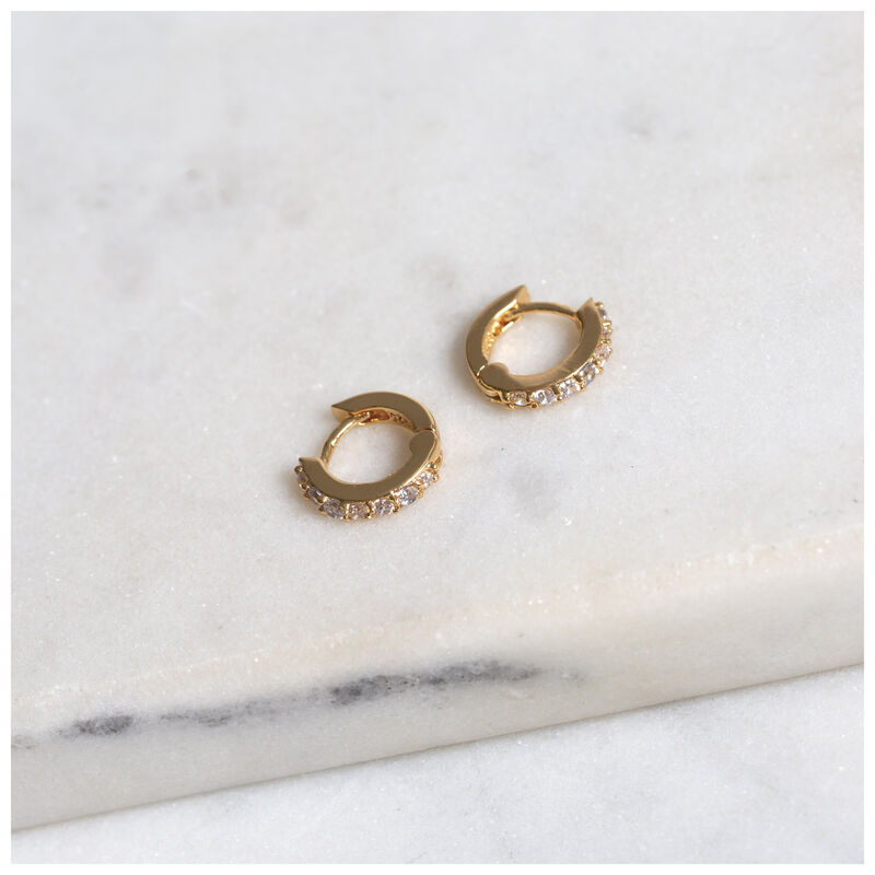 Cubic Zirconia & Gold Huggie Earrings -  gold