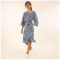 Georgia Animal Print Dress -  cobalt