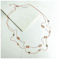 Geo Disk Multichain Necklace -  gold-grey