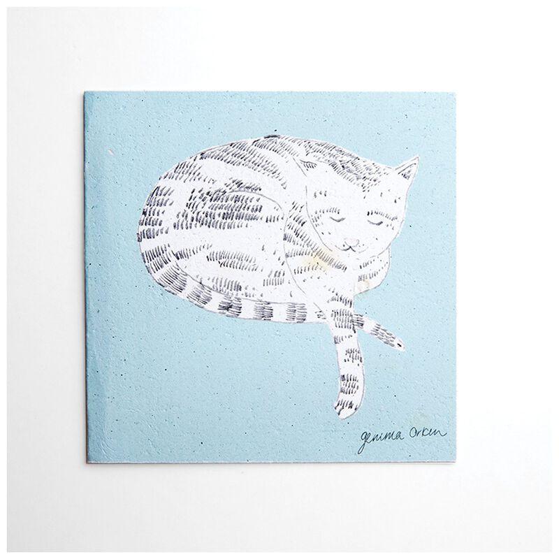 Gemma Orkin Light Blue Cat Card -  lightblue