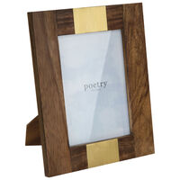 Wood & Brass Rectangle Frame -  brown-gold