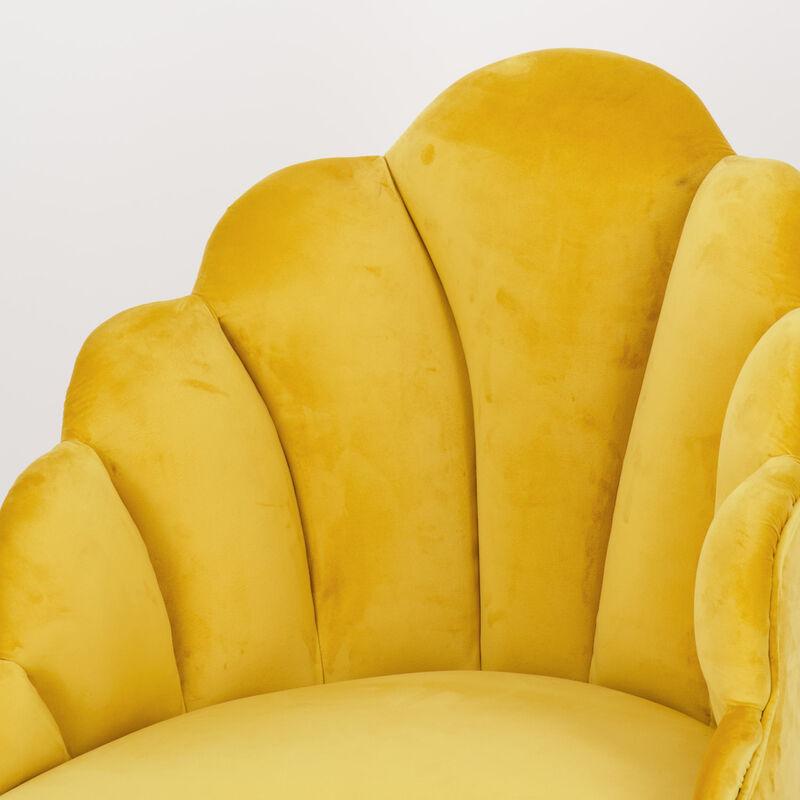 Ochre Velvet Peacock Chair -  ochre