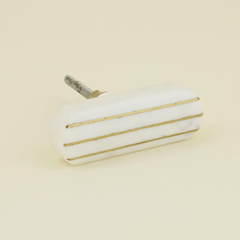 Brass Line & White Stone Knob -  white-gold