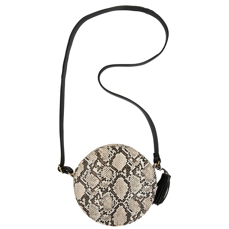 Maite Round Vegan Leather Cross Body Bag -  grey